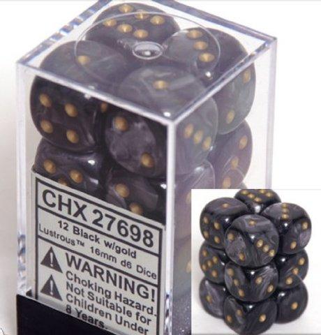 12 Black w/gold Lustrous 16mm D6 Dice Block - CHX27698
