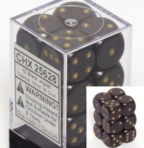 12 Black w/gold Opaque 16mm D6 Dice Block - CHX25628