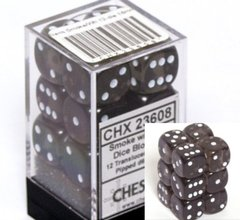 CHX 23608 - 12 Smoke w/ White Translucent 16mm d6 Dice