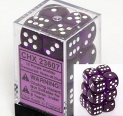 CHX 23607 - 12 Purple w/ White Translucent 16mm d6 Dice