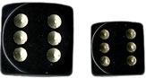 Black/Gold Opaque d6 w/spots 12mm - DQ1228