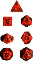 34mm Speckled d20 Fire - XS2021