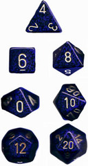 Golden Cobalt Speckled d6 w/ #'s - PS0693