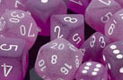 Frosted Polyhedral Purple/white d10 - PF1007