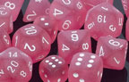 Frosted Polyhedral Pink/white d12 - PF1214