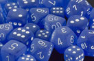 Frosted Polyhedral Blue/white d10 - PF1006