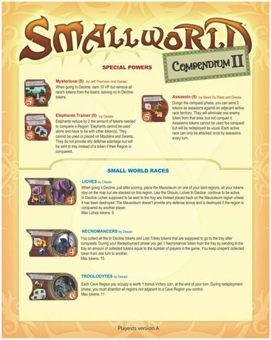 Small World Communitys Compendium II (fan expansion for Small World)