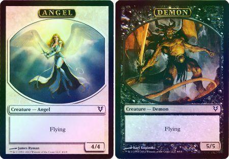 Angel/Demon Token Foil Double-Faced Helvault Promo