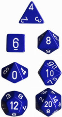 Blue w/ White Opaque Polyhedral 7-die Set - CHX25406