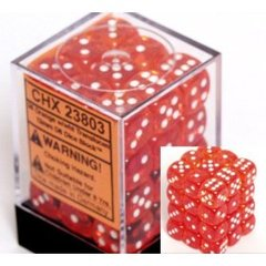 36 D6 Dice Block - 12mm Translucent Orange with White - CHX23803