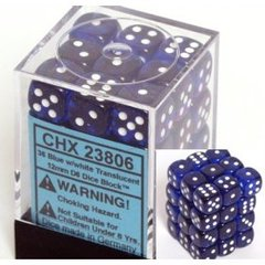 36 Blue w/white Translucent 12mm D6 Dice Block - CHX23806