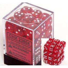 36 Red w/white Translucent 12mm D6 Dice Block - CHX23804