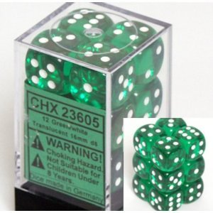 12 Green w/white Translucent 16mm D6 Dice Block - CHX23605
