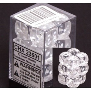 12 Clear w/white Translucent 16mm D6 Dice Block - CHX23601