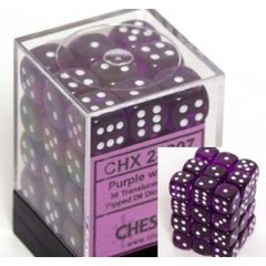 36 Purple w/white Translucent 12mm D6 Dice Block - CHX23807