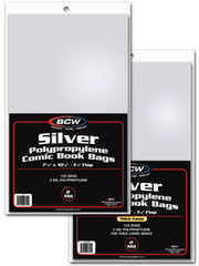 BCW Silver Comic Book Bags - THICK Comics - 7 1/4 x 10 1/2 - Pack of 100