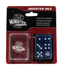 Monster Protectors - 6x D6 Monster Dice & Carrying Case - Blue