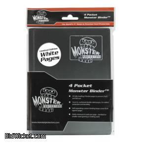 4-Pocket Monster Binder - Black w/ White pages