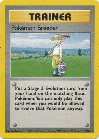 Pokemon Breeder - 76/102 - Rare - Unlimited Edition