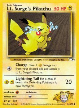 Lt. Surges Pikachu - 81/132 - Common - Unlimited Edition